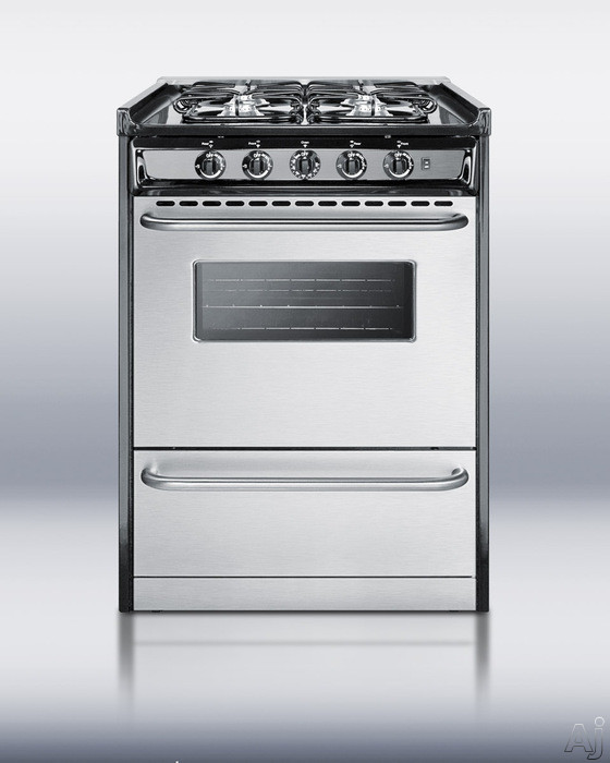"Summit Professional Series TNM61027BFRWY 24"" Slide-in Gas Range with 4 Sealed Burners, 2.9 cu. ft., U.S. & Canada TNM61027BFRWY"