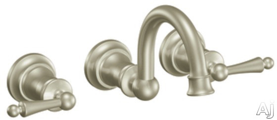 Moen Waterhill TS416BN Double Lever Wall-Mount Bathroom Faucet with 9