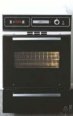 """Electronic Ignition - Summit TTM7212DK 24"""" Single Gas Wall Oven With Oven Window Broiler Door Electronic Ignition And Clock With Timer Black Glass"""