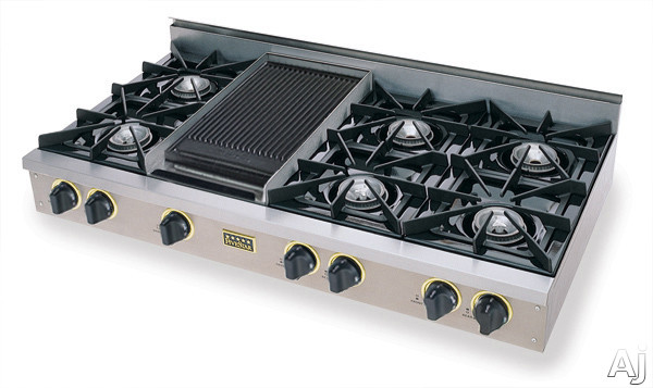 FiveStar TTN048 48 Inch Pro-Style Natural Gas Rangetop with 6 Open Burners, Vari-Flame Simmer on Front Burners and Double Sided Grill/Griddle