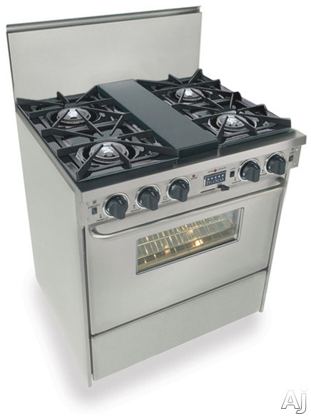 Picture of FiveStar TTN275BW 30 Inch Pro-Style Dual-Fuel Natural Gas Range with 4 Open Burners Vari-Flame Simmer on Front Burners 369 cu ft Convection Oven and Self-Cleaning Stainless Steel