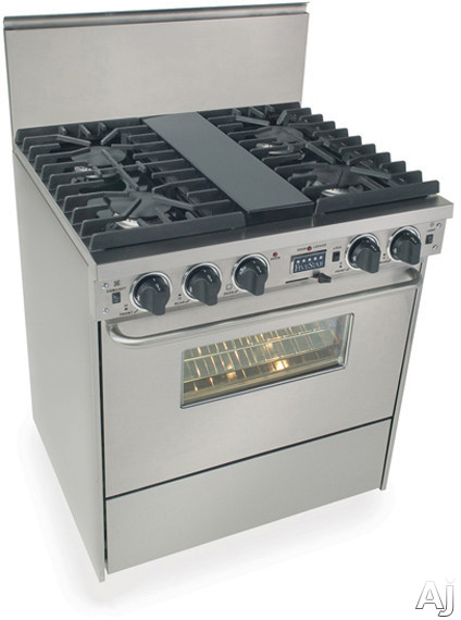 Image of FiveStar TPN287BW 30 Inch Pro-Style Dual-Fuel LP Gas Range with 4 Sealed Ultra High-Low Burners, 3.69 cu. ft. Convection Oven and Self-Cleaning: Stainless Steel