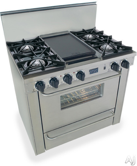 """FiveStar TPN3107BW 36"""" Pro-Style LP Gas Range with 4 Open Burners, Vari-Flame Simmer on Front, U.S. & Canada TPN3107BW"""