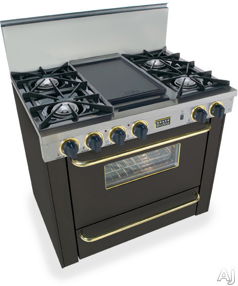FiveStar TPN3107SW 36 Inch Pro-Style LP Gas Range with 4 Open Burners, Vari-Flame Simmer on Front Burners, 3.69 cu. ft. Manual Clean Oven, Broiler Oven and Double Sided Grill/Griddle: Black with Brass