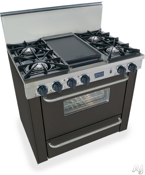 FiveStar TPN3107W 36 Inch Pro-Style LP Gas Range with 4 Open Burners, Vari-Flame Simmer on Front Burners, 3.69 cu. ft. Manual Clean Oven, Broiler Oven and Double Sided Grill/Griddle: Black
