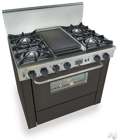 """FiveStar TTN3257W 36"""" Pro-Style Dual-Fuel Natural Gas Range with 4 Open Burners, Vari-Flame Simmer, U.S. & Canada TTN3257W"""