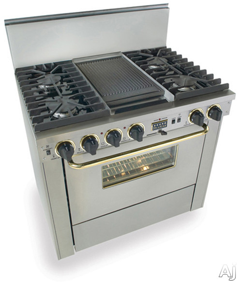 """FiveStar TTN3377BSW 36"""" Pro-Style Dual-Fuel Natural Gas Range with 4 Sealed Ultra High-Low Burners, U.S. & Canada TTN3377BSW"""