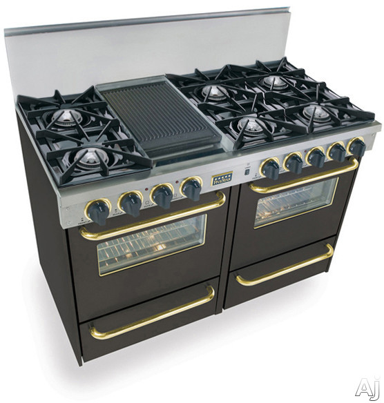FiveStar TPN5107SW 48 Inch Pro-Style LP Gas Range with 6 Open Burners, Vari-Flame Simmer on Front Burners, 2.92 cu. ft. Manual Clean Ovens, Broiler Ovens and Double Sided Grill/Griddle: Black with Bra