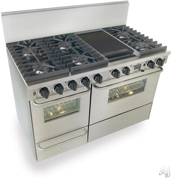 48 quot dual fuel range with four gas burners a grill and a griddle