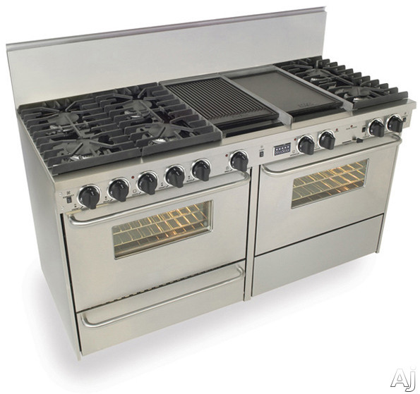 FiveStar TTN6377BW 60 Inch Pro-Style Dual-Fuel Natural Gas Range with 6 Sealed Ultra High-Low Burners, Two 3.69 cu. ft. Convection Oven, Self-Clean and Double Sided Griddle/Grill: Stainless Steel
