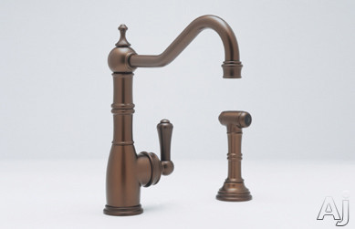 Rohl Perrin and Rowe Traditional Collection U4746STN2 Single Lever Cast Spout Kitchen Faucet with, U.S. & Canada U4746STN2