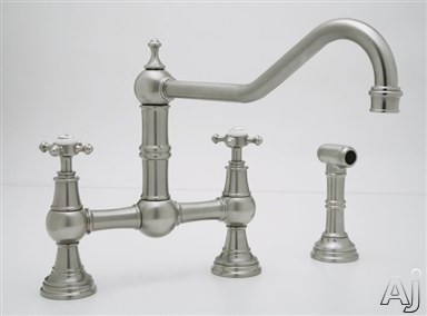 Rohl Perrin and Rowe Traditional Collection U4763XPN2 Double Handle Cast Spout Bridge Kitchen Faucet, U.S. & Canada U4763XPN2