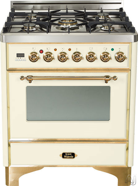 Ilve UM76DVGGA 30 Inch Traditional-Style Gas Range with 5 Open Burners, Dual Triple Flame Burner, European Convection Oven, Manual Clean, Rotisserie, Warming Drawer and Brass Trim: Antique White UM76DVGGA