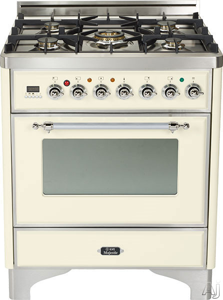 Ilve Majestic Collection UM76DVGGAX 30 Inch Traditional-Style Gas Range with 5 Open Burners, Dual Triple Flame Burner, European Convection Oven, Manual Clean, Rotisserie, Warming Drawer and Chrome Trim: Antique White UM76DVGGAX