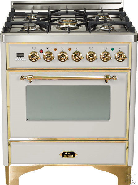 Ilve Majestic Collection UM76DVGG 30 Inch Traditional-Style Gas Range with 5 Open Burners, Dual Triple Flame Burner, European Convection Oven, Manual Clean, Rotisserie, Warming Drawer and Brass Trim UM76DVGG