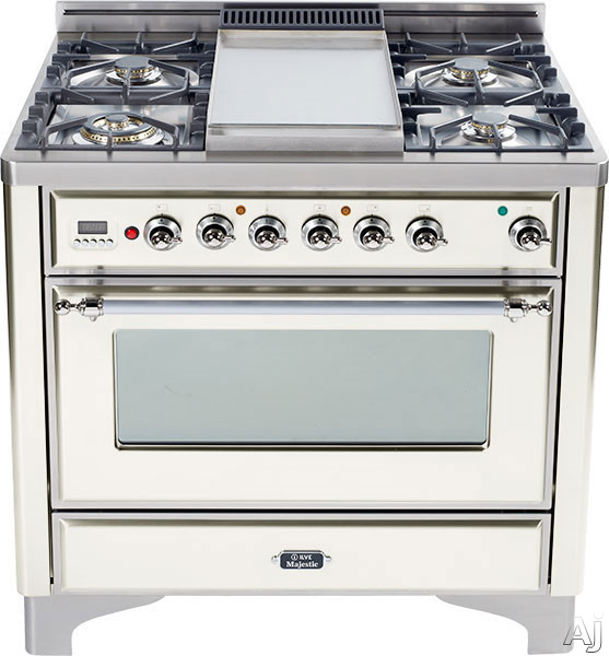 Ilve Majestic Collection UM90FDVGGAX 36 Inch Traditional-Style Gas Range with 4 Sealed Burners, Convection Oven, Manual Clean, Griddle, Infrared Broiler, Rotisserie, Warming Drawer and Chrome Trim: Antique White UM90FDVGGAX