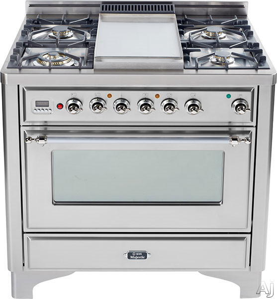 Image of Ilve Majestic Collection UM90FMPIX 36 Inch Traditional-Style Dual Fuel Range with 4 Sealed Burners, Convection Oven, Manual Clean, Griddle, Rotisserie, Warming Drawer and Chrome Trim: Stainless Steel