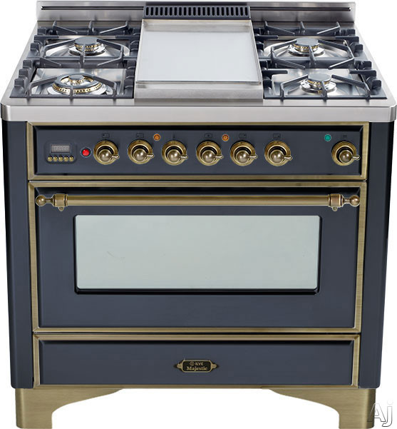 Image of Ilve Majestic Collection UM90FVGGMY 36 Inch Traditional-Style Gas Range with 4 Sealed Burners, Convection Oven, Manual Clean, Griddle, Infrared Broiler, Rotisserie, Warming Drawer and Oil Rubbed Bronze Trim: Matte Graphite