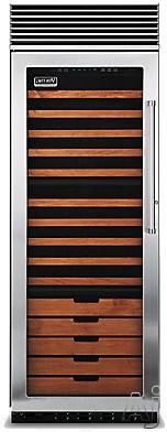 "Viking Professional Series VCWB301LSS 30"" Tri-Zone Wine Cellar with 150-Bottle Capacity, 15 Coated Wine Shelves, 2 Convertible Display Shelves, Low-Intensity Lighting, Door Alarm and Door Lock: Stainless Steel, Left Hinge Door Swing"