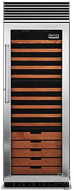 "Viking Professional Series VCWB301RSS 30"" Tri-Zone Wine Cellar with 150-Bottle Capacity, 15 Coated Wine Shelves, 2 Convertible Display Shelves, Low-Intensity Lighting, Door Alarm and Door Lock: Stainless Steel, Right Hinge Door Swing"