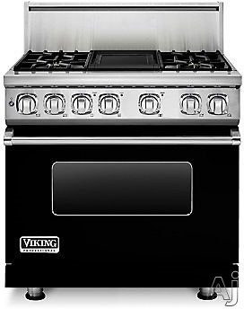 Viking Professional 7 Series VDR7364GBK 36 Inch Pro-Style Dual-Fuel Range with 4 Sealed Burners, VariSimmers, Vari-Speed Dual Flow Convection Oven, Self-Clean, Infrared Broiler and Griddle: Black, Nat