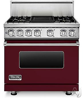 Viking Professional 7 Series VDR7364GBU 36 Inch Pro-Style Dual-Fuel Range with 4 Sealed Burners, VariSimmers, Vari-Speed Dual Flow Convection Oven, Self-Clean, Infrared Broiler and Griddle: Burgundy,