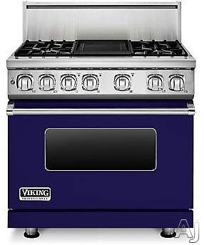 Viking Professional 7 Series VDR7364GCB 36 Inch Pro-Style Dual-Fuel Range with 4 Sealed Burners, VariSimmers, Vari-Speed Dual Flow Convection Oven, Self-Clean, Infrared Broiler and Griddle: Cobalt Blu