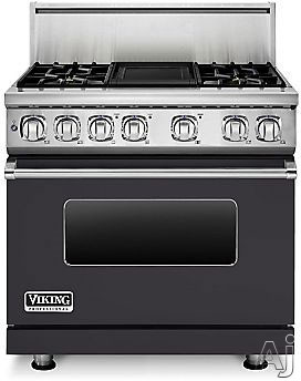 Viking Professional 7 Series VDR7364GGG 36 Inch Pro-Style Dual-Fuel Range with 4 Sealed Burners, VariSimmers, Vari-Speed Dual Flow Convection Oven, Self-Clean, Infrared Broiler and Griddle: Graphite G