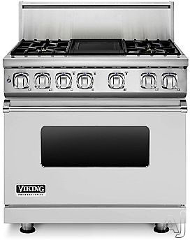 Viking Professional 7 Series VDR7364GARLP 36 Inch Pro-Style Dual-Fuel Range with 4 Sealed Burners, VariSimmers, Vari-Speed Dual Flow Convection Oven, Self-Clean, Infrared Broiler and Griddle: Apple Red, Liquid Propane VDR7364GARLP