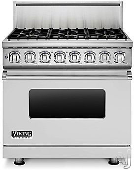 "Viking Professional 7 Series VDR7366BSSLP 36"" Pro-Style Dual-Fuel Range with 6 Viking Elevation Sealed Burners, VariSimmers, Vari-Speed Dual Flow Convection Oven, Self-Clean and Infrared Broiler: Stainless Steel, Liquid Propane"
