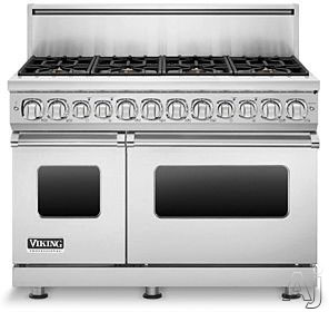 "Viking Professional 7 Series VDR7488BSS 48"" Pro-Style Dual-Fuel Range with 8 Viking Elevation Sealed Burners, VariSimmers, Vari-Speed Dual Flow Convection Oven, Self-Clean and iDevices Meat Thermometer: Stainless Steel, Natural Gas"