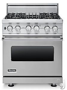 "Viking Professional Custom Series VDSC5304BSS 30"" Pro-Style Dual-Fuel Range with 4 VSH Pro Sealed Burners, VariSimmers, Vari-Speed Dual Flow Convection Oven, Self-Clean, Infrared Broiler and Rapid Ready Preheat: Stainless Steel, Natural Gas"
