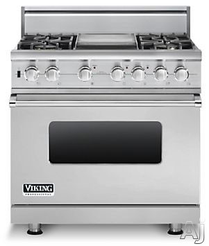 "Viking Professional Custom Series VDSC5364GSSLP 36"" Pro-Style Dual-Fuel Range with 4 VSH Pro Sealed Burners, VariSimmers, 5.6 cu. ft. ProFlow Convection Oven, Self-Clean, Rapid Ready Preheat and 12"" Griddle: Stainless Steel, Liquid Propane"