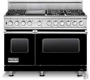 Picture of Viking Professional Custom Series VDSC5486GBKLP 48 Inch Pro-Style Dual-Fuel Range with 7 cu ft Total Oven Capacity 6 VSH Pro Sealed Burners VariSimmers Vari-Speed Dual Flow Convection Ovens Self-Clean Bread Proofing and 12 Inch Griddle Black Liquid Propane