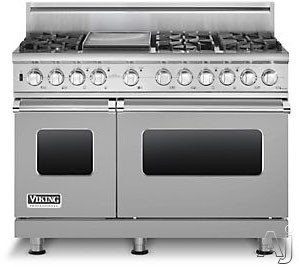 "Viking Professional Custom Series VDSC5486GSS 48"" Pro-Style Dual-Fuel Range with 6 VSH Pro Sealed Burners, VariSimmers, Vari-Speed Dual Flow Convection Ovens, Self-Clean, Bread Proofing and 12"" Griddle: Stainless Steel, Natural Gas"