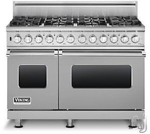 "Viking Professional Custom Series VDSC5488BSSLP 48"" Pro-Style Dual-Fuel Range with 8 VSH Pro Sealed Burners, VariSimmers, Vari-Speed Dual Flow Convection Ovens, Self-Clean, Bread Proofing and Rapid Ready Preheat: Stainless Steel, Liquid Propane"
