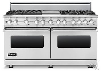 "Viking Professional Custom Series VDSC5606GQSS 60"" Pro-Style Dual-Fuel Range with 6 VSH Pro Sealed Burners, VariSimmers, 4.7 cu. ft. Vari-Speed Dual Flow Convection Ovens, Self-Clean, 12"" Griddle and 12"" Grill: Stainless Steel, Natural Gas"