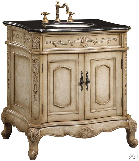 """Black Countertops With Antique White Cabinets: Empire Industries VE30AW 30"""" Traditional Vanity With"""