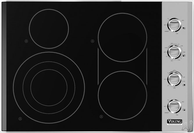Viking Professional Series VEC5304BSB 30 Inch Smoothtop Electric Cooktop with 4 QuickCook Surface Infrared Elements, Triple Element, Bridge Element, 7 Cooking Zones and Hot Surface Indicators