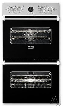 Viking Professional Premiere Series VEDO5272BK 27 Inch Double Electric Wall Oven with 4.1 cu. ft. Vari-Speed Dual Flow Convection Ovens, Self-Clean, Infrared Broiler, 10-Pass Dual Bake Element and Mea