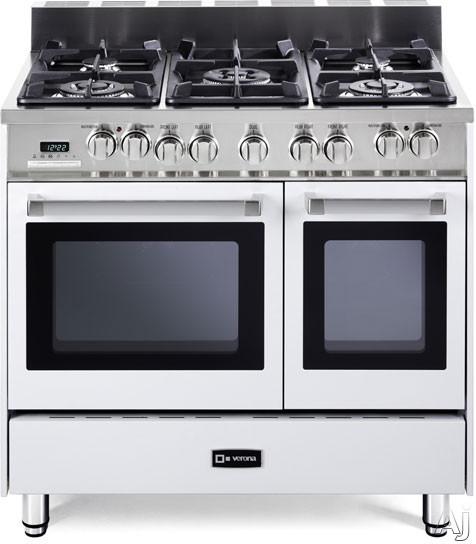"Verona VEFSGE365DW 36"" Pro-Style Dual-Fuel Range with 5 Sealed Burners, 2 European Convection Ovens, U.S. & Canada VEFSGE365DW"