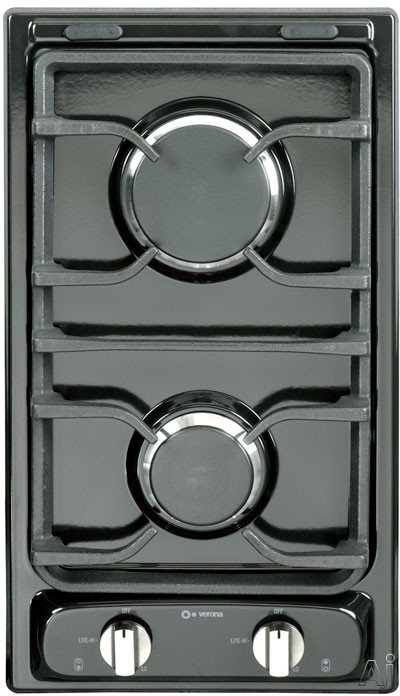 """Verona VEGCT212FE 12"""" Gas Cooktop with 2 Sealed Burners, Electronic Ignition, Continuous Cast Iron Grates, Flame Failure Safety Device and LP Conversion Kit Included: Black"""