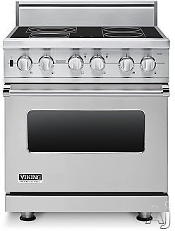 "Viking Professional Series VESC5304BSS 30"" Pro-Style Smoothtop Electric Range with 4 QuickCook Surface Elements, Bridge Element, Vari-Speed Dual Flow Convection Oven, Self-Clean and Rapid Ready Preheat: Stainless Steel"