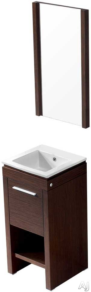 Vigo Industries VG09010118K 16 Inch Aristo Modern Vanity with Swinging Door Cabinet, Soft Closing Hardware, White Ceramic Sink and Mounting Hardware Included: Wenge with Mirror