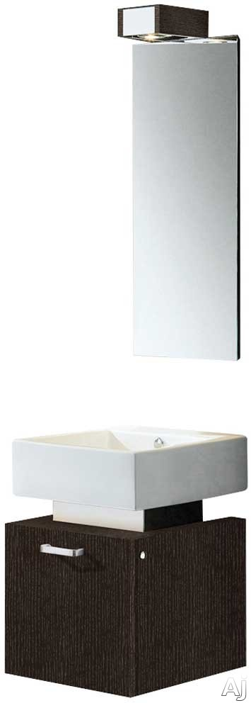 Vigo Industries VG09011104K 19 Inch Modern Wall-Mount Vanity with One Large Door Cabinet, Soft Closing Hardware, White Ceramic Sink and Mounting Hardware Included: Wenge with Mirror and Lighting Syste