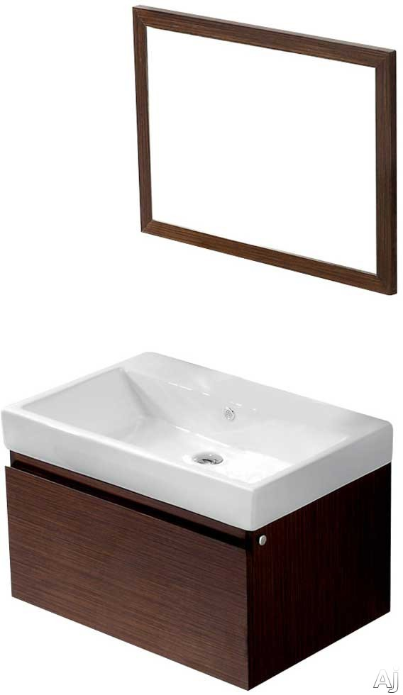 Vigo Industries VG09018118K 31 Inch Agalia Modern Wall-Mount Vanity with Deep Drawer, Soft Closing Hardware, White Ceramic Sink and Mounting Hardware Included: Wenge with Mirror