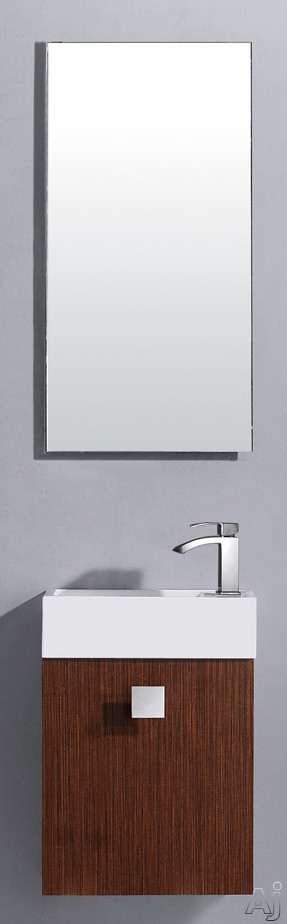 Vigo Industries VG09039118K 16 Inch Marina Modern Wall-Mount Vanity with Cabinet Door, Soft Closing Hardwares, White Ceramic Sink and Mounting Hardware Included: Wenge with Mirror