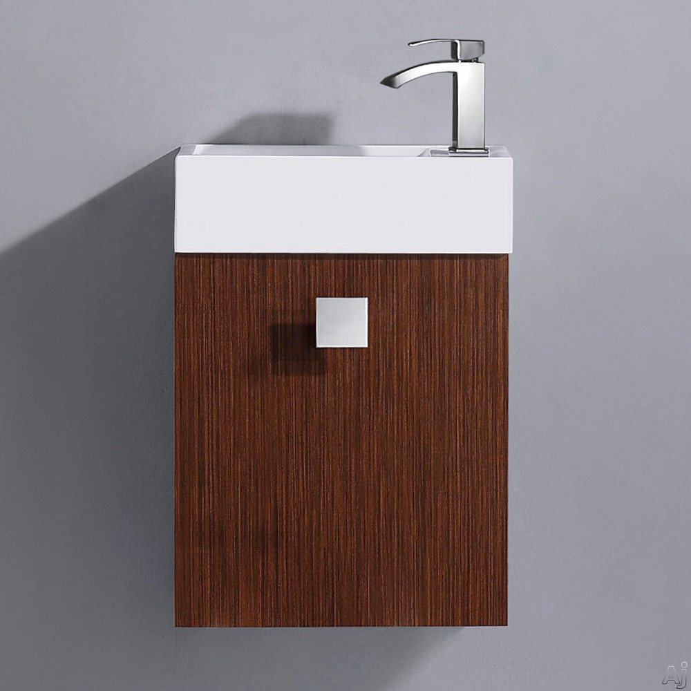 Vigo Industries VG09039118K1 16 Inch Marina Modern Wall-Mount Vanity with Cabinet Door, Soft Closing Hardwares, White Ceramic Sink and Mounting Hardware Included: Wenge