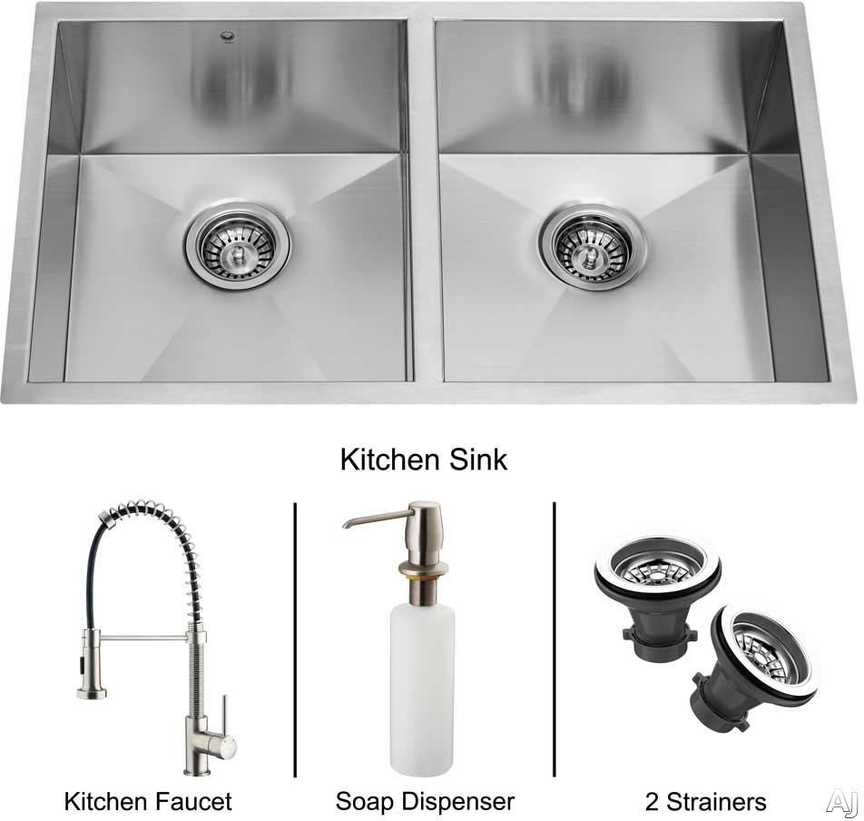 Vigo Industries Platinum Collection VG15017 32 Inch Undermount Double Bowl Stainless Steel Sink Combo with 9 7 8 Inch Bowl Depths 16 Gauge Pull Out Faucet Soap Dispenser and 2 Strainers