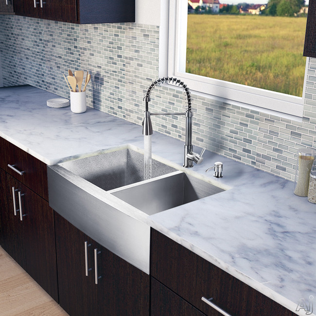 Vigo Industries VG15133 33 Inch Farmhouse Stainless Steel Double Bowl Kitchen Sink with 9 7/8 Inch Bowl Depths, 16-Gauge, Stainless Steel Faucet Set, Bottom Grids, Strainers, Soap Dispenser and ADA Co